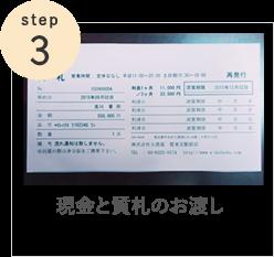 Step3 現金と質札のお渡し