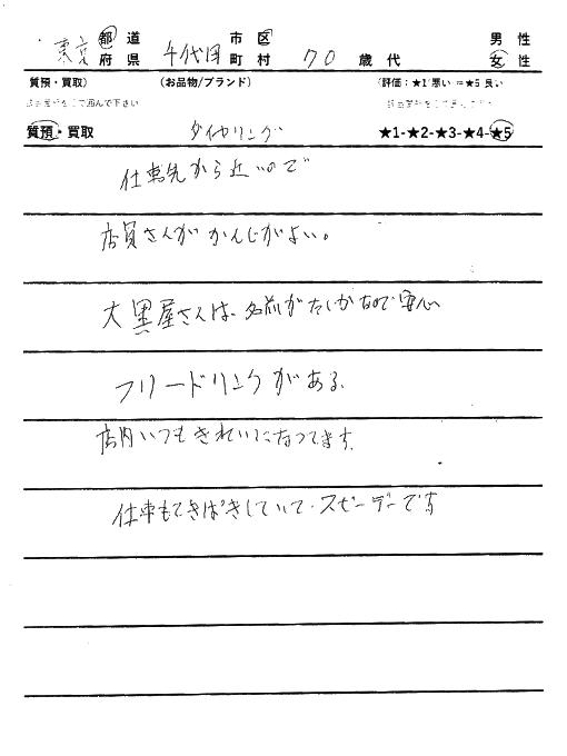 東京都千代田区 / 70代 / 女性のお客様からいただいたお声