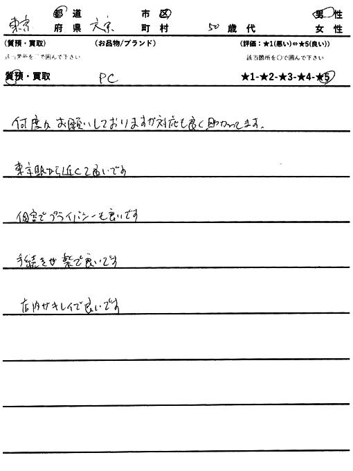 東京都文京区 / 50代 / 男性のお客様からいただいたお声